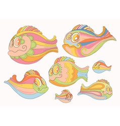 Set of cartoon cheerful brightly colored fish vector