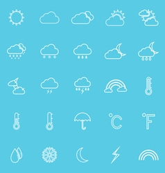 Weather line icons on blue background vector