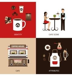 Coffee house flat set vector