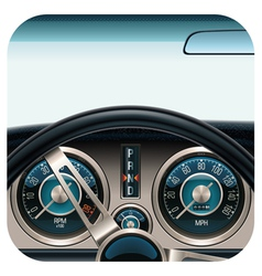 Car dashboard square icon vector