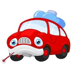 Cartoon car character needing repair vector image