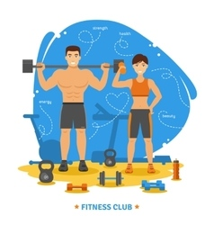 Fitness couple concept vector