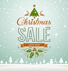 Merry christmas sale winter greeting card vector