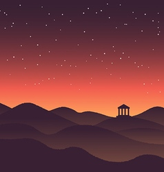 Abstract background landscape sunset silhouette vector