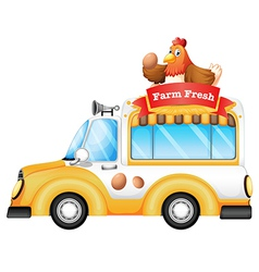 A vehicle selling farm fresh products vector image