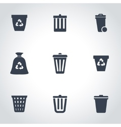 black trash can icon set vector image