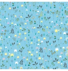 Blossoming field blue seamless pattern vector