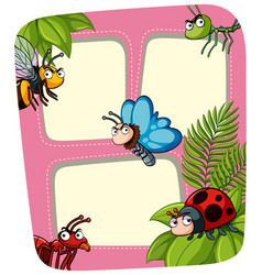 Border template with many insects vector