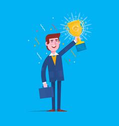 businessman holding winner golden cup over head vector image vector image