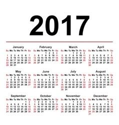 Calendar for 2017 on white background eps8 vector