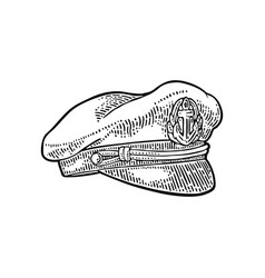 captain hat on white background vintage vector image