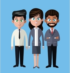 Cartoon woman and men business company team vector