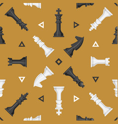 chess piece board seamless pattern background play vector image