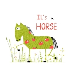 Childish colorful fun cartoon horse in grass field vector
