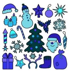 Christmas patch blue set vector