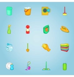 Cleaning house icons set cartoon style vector