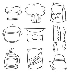 Collection stock of kitchen equipment doodles vector