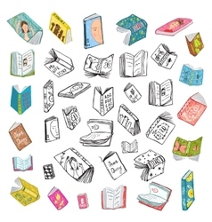 Colorful Open Books Drawing Library Big Collection vector image
