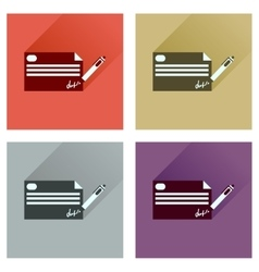Concept flat icons with long shadow bank check vector