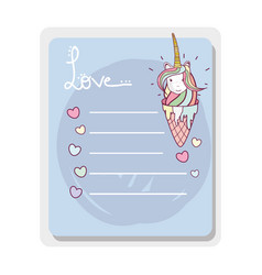 cute card ice cream unicorn with mane long vector image vector image