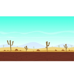 Desert cartoon game background vector