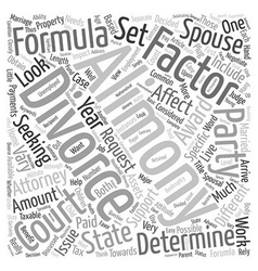 Divorce and alimony formula text background vector