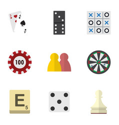 Flat icon entertainment set of ace mahjong bones vector