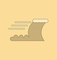 Flat icon on background ocean tsunami vector