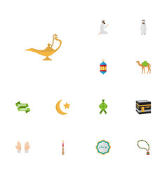 Flat icons dromedary bead islamic lamp and other vector