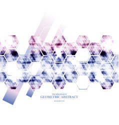 geometric technological reflected hexagon vector image vector image