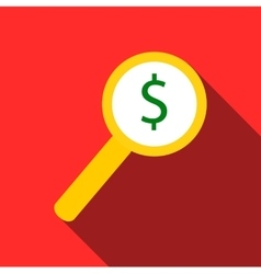 Magnifier with increase money icon flat style vector