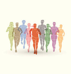 marathon runners men and women running vector image vector image