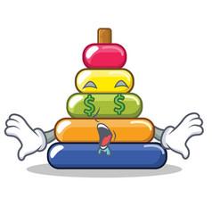 Money eye pyramid ring character cartoon vector