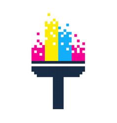 Pixel paint roller brush pixel art cartoon retro vector