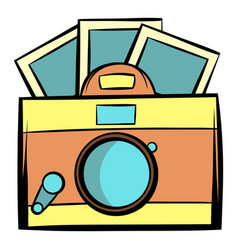 Retro camera icon cartoon vector