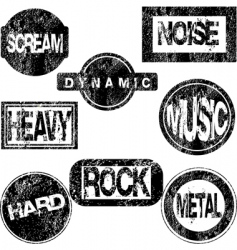 rubber stamps with musical concept vector image