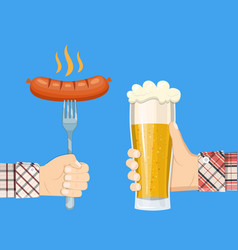 sausage on fork and lager glass beer in hand vector image vector image