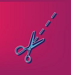 Scissors sign blue 3d vector