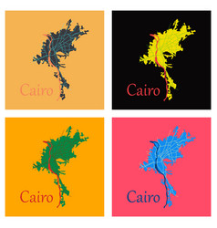 Set of map of cairo city streets egypt flat view vector