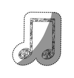 sticker musical note monochrome silhouette formed vector image vector image
