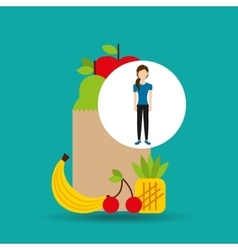 woman exercising healthy food bag vector image vector image