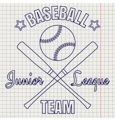 Baseball logo on notebook page vector image