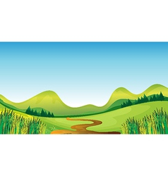 A winding road and mountains vector