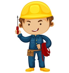 Electrician with screwdriver and helmet vector