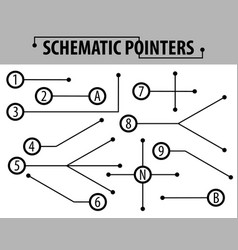 Schematic pointers extension lines to indicate vector