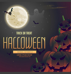 Halloween night pumpkins on the moon background vector