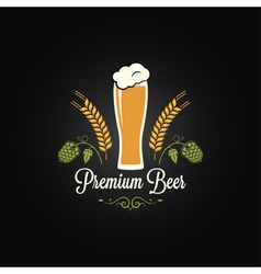 Beer glass hops design background vector