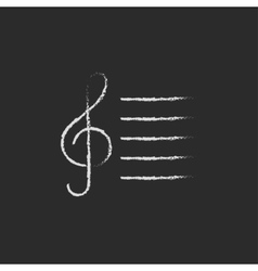 Treble clef icon drawn in chalk vector