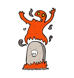 Comic cartoon ghost rising from grave vector