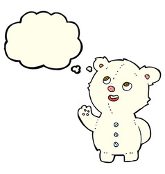 Cartoon cute polar bear cub with thought bubble vector